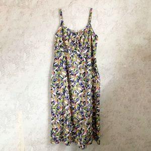 Boden Leaf Printed Maxi Dress Cotton Green 16 L